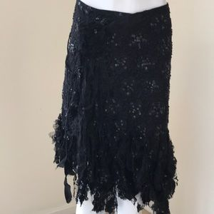 Bebe Black Lace Wrap Sequined Skirt With Fringes